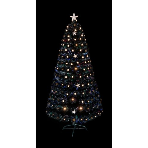 StarBurstBlack Fibre Optic Tree With Rose Tips Large/Small Star Decorations