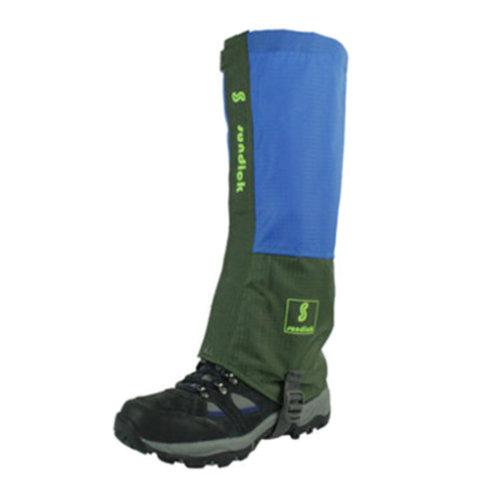 Skiing Mountaineering Waterproof Shoe Gaiters Foot Strap 2 PCS,Green/Blue