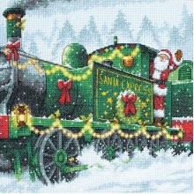 """Dimensions Counted Cross Stitch Kit 10""""X10""""-Santa Express (14 Count)"""