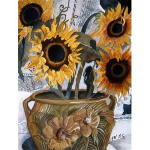 Carolines Treasures JMK1202GF Pot Of Sunflowers Flag Garden Size