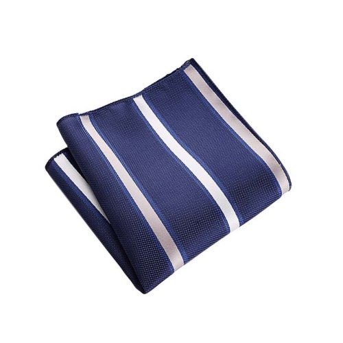 2 Pack Men's Pocket Square Handkerchief Fashion Hankies, Navy Blue And Sliver