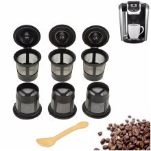 6Pcs Black Solo Reusable Single Cup Keurig Replacements Filter Pod K-Cup Coffee