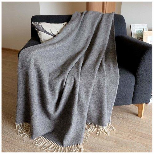 Luxury Extra Soft Sofa Bed Merino Throws Blankets Stonewold 100 Fine Wool 140 X 200cm 55 80 Grey