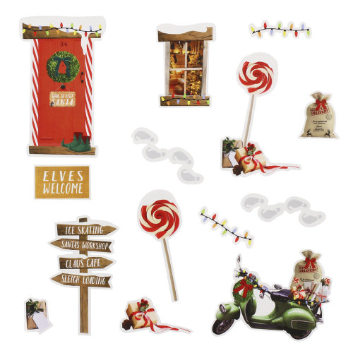 Christmas Elf Wall Stickers - Elf on the Shelf Ideas - 14 Stickers Resuseable