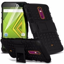 Itronixs - Samsung Galaxy A8 Rugged Heavy Duty Armour Shock Proof Hard Stand Case Cover with Lcd Screen Protector