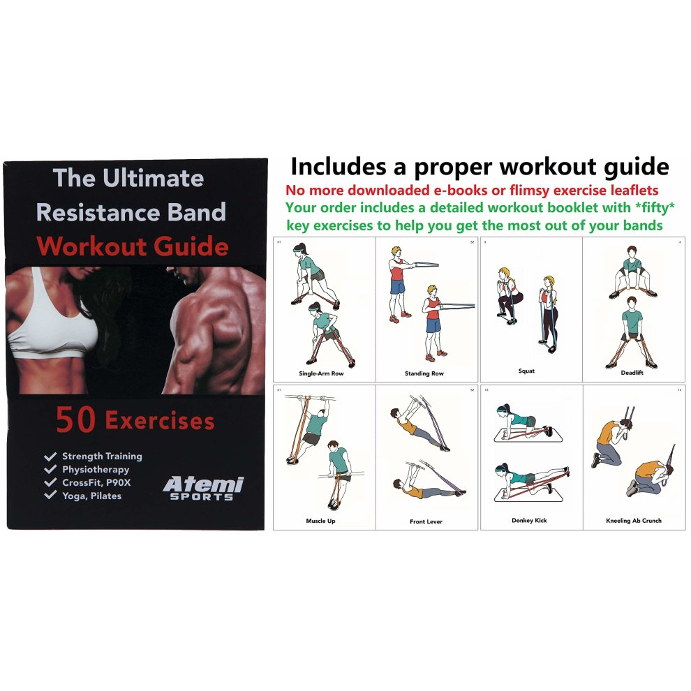 Resistance Bands Set of 3 Exercise Bands for Fitness and Strength Training  | Free Workout Guide with 30 Key Exercises for Strength and Power | High