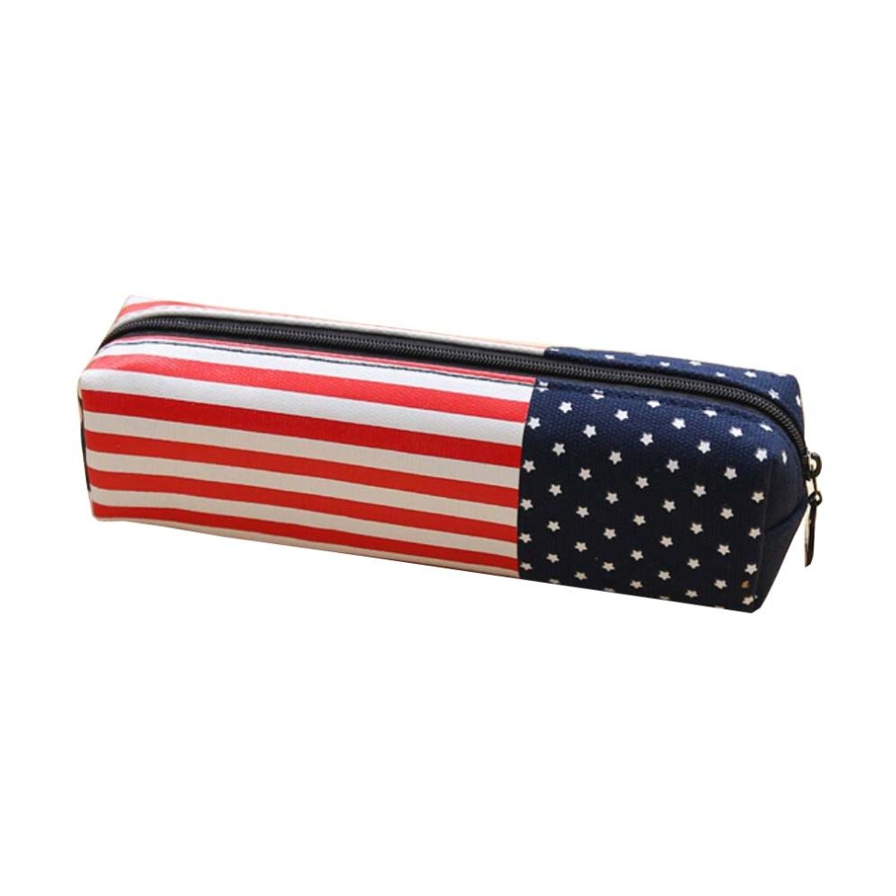 98e89aeb7fb4 PU Zipper Pencil Pouch Pen Bag Holder for School Office National Flag  Design - America