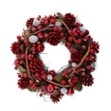 Small Seasonal Red & Green Leaved Berry & Pine Cone Christmas Wreath