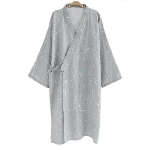 Japanese Style Men Thin Cotton Bathrobe Pajamas Kimono Skirt Gown-D01