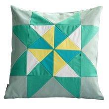 "Handmade Cushion Chic Decorative Pillow Case 18.9""*18.9"" [Green Triangle]"
