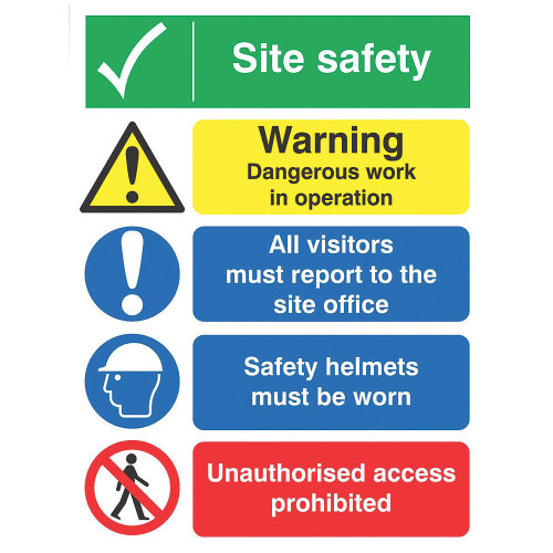 """""""SITE SAFETY"""" BOARD SIGN 400 X 300MM"""