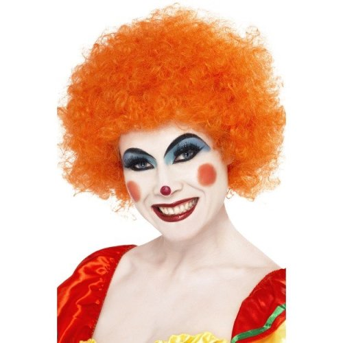 Smiffys Crazy Clown Wig - Orange -  wig clown orange fancy dress afro crazy unisex smiffys curly costume disco 70s party accessory