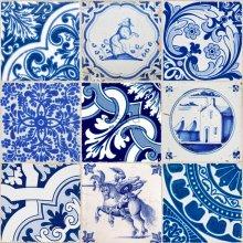 non-woven wallpaper XXL small tiles indigo blue