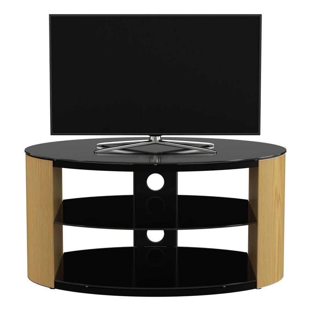 King Oak Tv Stand 80cm Black Glass Shelves Tvs Up To 42 On Onbuy