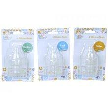Set Of 4 Regular Neck Silicone Baby Bottle Teats - Assorted Sizes.