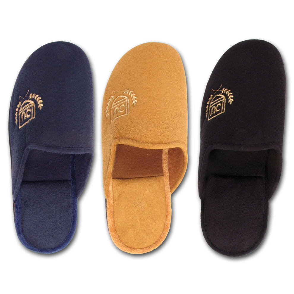 98c3053ee745 Mens Fleece Lounge Bedroom Slippers Mules Motif on OnBuy