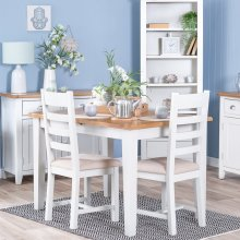 Chester White Painted Oak 1.2m Butterfly Extending Table (Seats 6)