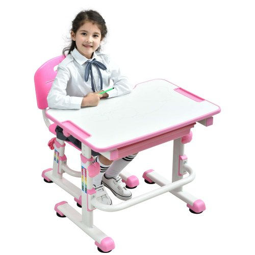 Height Adjustable Kids Desk Chair Ergonomic Children Table - Mini Pink