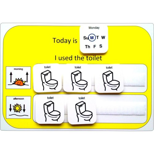 Visual Toilet Monitoring Card AAC (Picture Communication Symbols)
