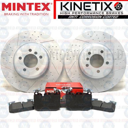 FOR BMW 435i M SPORT FRONT DIMPLED GROOVED BRAKE DISCS MINTEX PADS 370mm