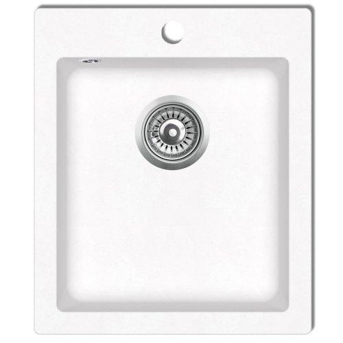 Overmount Kitchen Sink Single Basin Granite Cream White