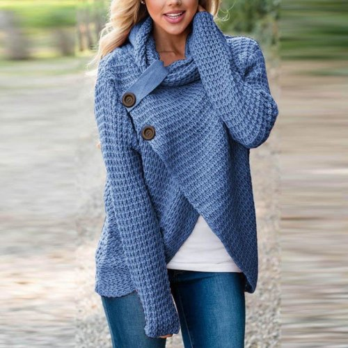 Stylish Knitwear Blusas Long Sleeve Turtle Neck Buttons Asymmetric Split Sweater Women Winter Autumn Warm Casual Leisure Blouse