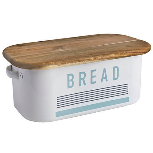 Jamie Oliver Vintage Bread Bin with Acacia Wood Chopping Board Lid, Harbour Blue