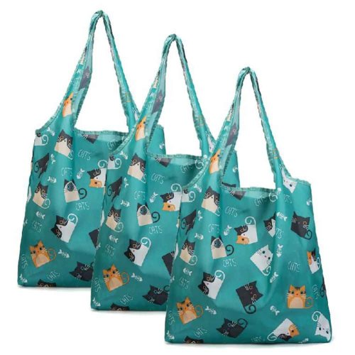 Cat - 3 Pieces Merchandise Tote Bags Reusable Grocery Bags Foldable Boutique Shopping Bags Portable Storage Bag