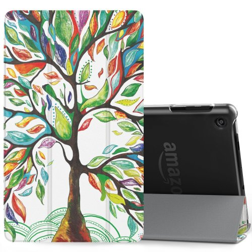 MoKo Case Fire HD 8 (7th Gen 2017) - Smart Stand Cover Frosted Back Lucky TREE
