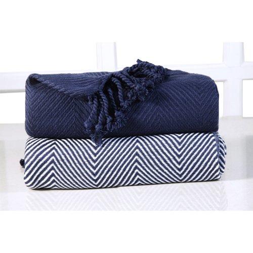 Ehc Luxury Chevron Cotton Single Sofa Throw Blanket Navy Blue 125 X 150 Cm Pack Of 2