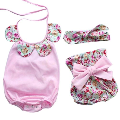 Summer Baby Boys Girls Clothes Sets Newborn Infant Baby Girl Floral Romper Tops+Bow Shorts Pants Casual Style Infant Suits