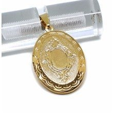 New 9CT Gold Filled Medium Oval Engraved Locket Pendant and Chain B19