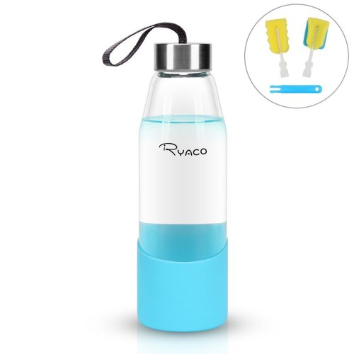 ec02df0c6d Ryaco Borosilicate Glass Water Bottle 500ml BPA-Free Leak Proof Ideal for  School Home Office Travel Sport Yoga Gym Hot Cold Drinks with Anti-slip...  on ...