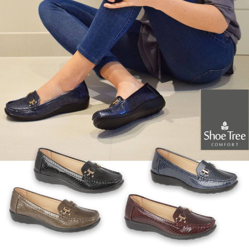 St Austell ladies snake effect loafer Shoes