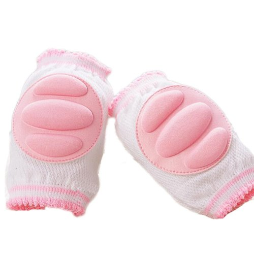 Set of 2 Cotton Mesh  Baby Leg Warmers Knee Pads/Protect-Horizontal, Pink