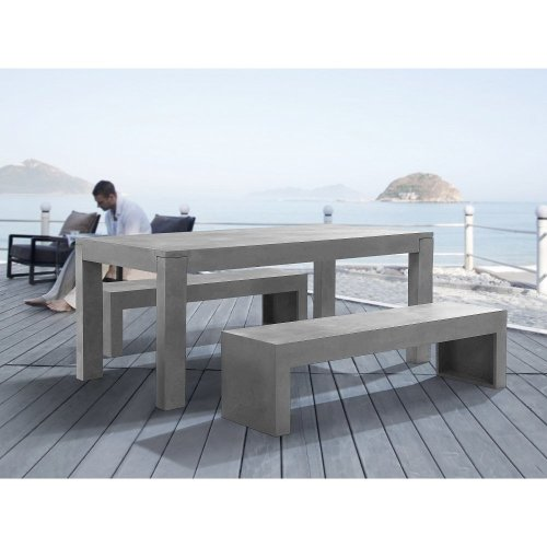 Dinning Beton Set - Concrete Table and 2 Benches - Outdoor Furniture - TARANTO