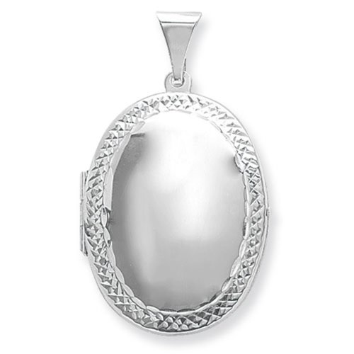 Childrens Sterling Silver Medium Engraved Edge Oval Locket On A Curb Necklace