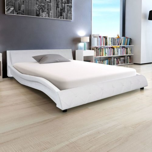 vidaXL Bed Frame Artificial Leather 5FT King Size/150x200 cm White