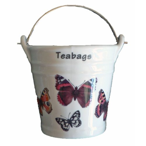 Butterfly Design Bucket Teabag Tidy, Porcelain Bucket Teabag Tidy