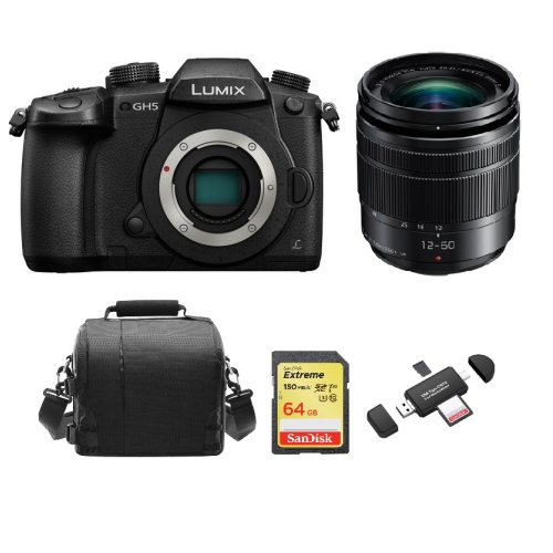 PANASONIC DMC-GH5 Black 12-60mm O.I.S Black+64GB card+Bag+Card Reader