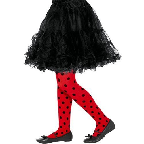 Smiffy's 47336 Ladybird Spot Tights, Childs, Red & Black, M To L - Uk Age 8-12 -  tights ladybird fancy dress accessory spotted childrens ladybug
