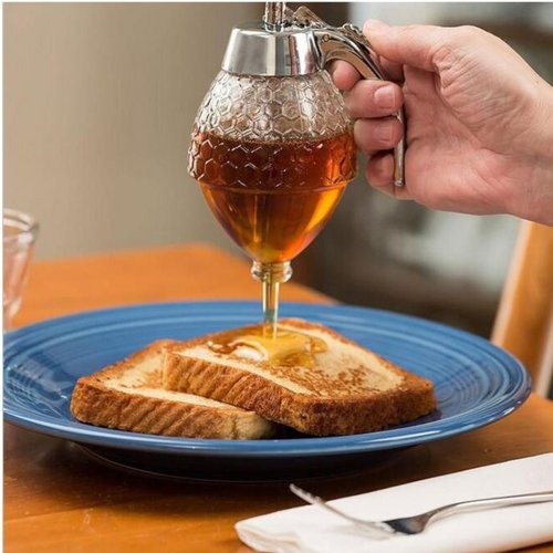 200ML Glass Jar Syrup Pot Honey Dispenser
