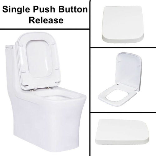 White Square Design WC Toilet Seat Soft Fix Quick Release Hinge Easy Clean UK