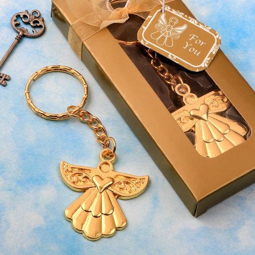 Angel themed gold metal key chain