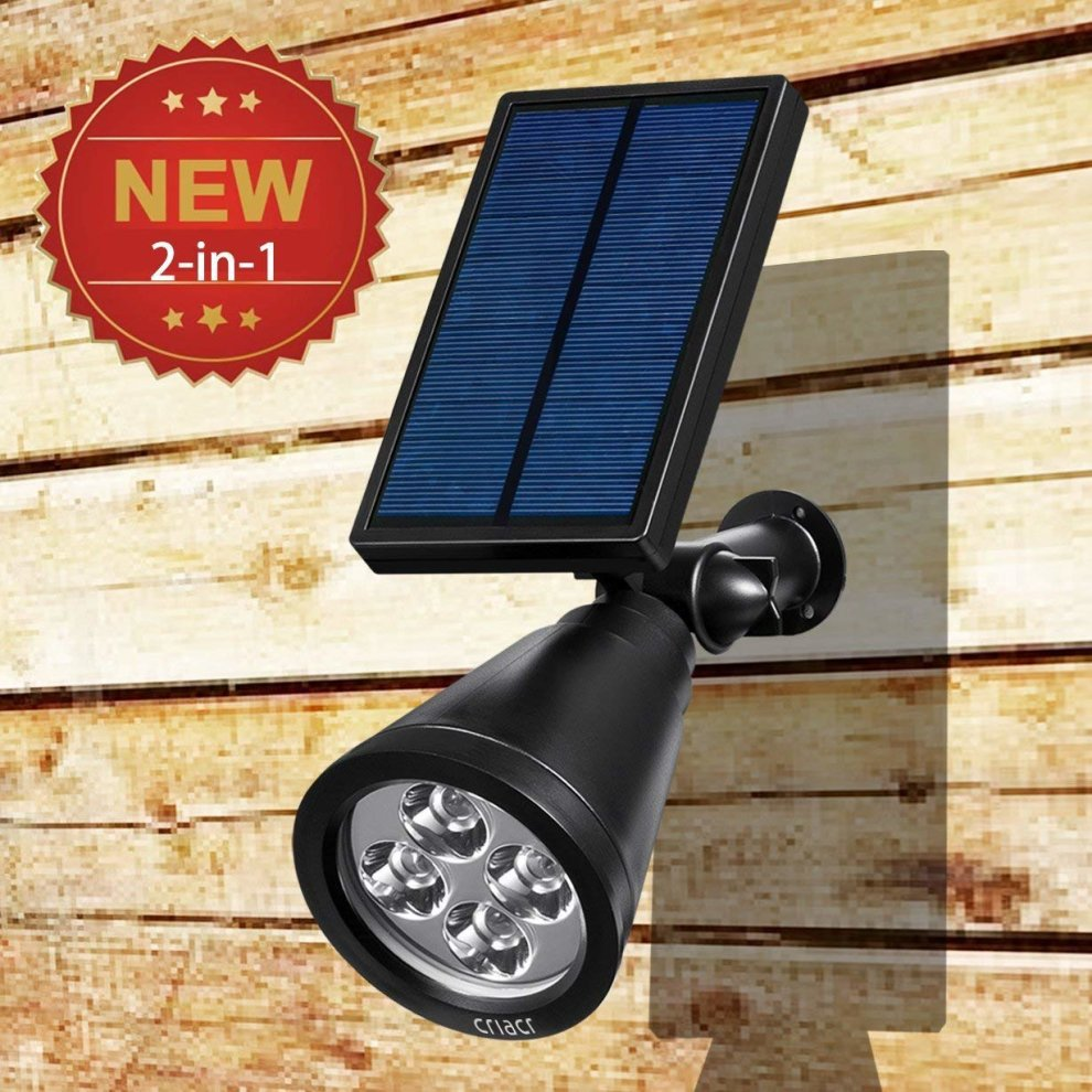 Criacr 4 Led Solar Spotlight Multiple Color Changing Landscape Lights Ed Outdoor Wall