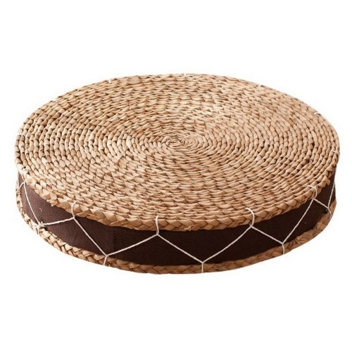Japanese Style Handcrafted Knitted Straw Seat Cushion 50cm,Pure Coffee