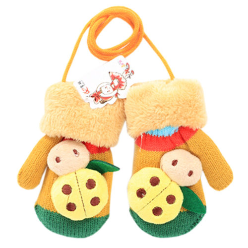 1 Pair Kids' Winter Glove Knitted Mittens With Sling(1-3 Years) Beetle Yellow