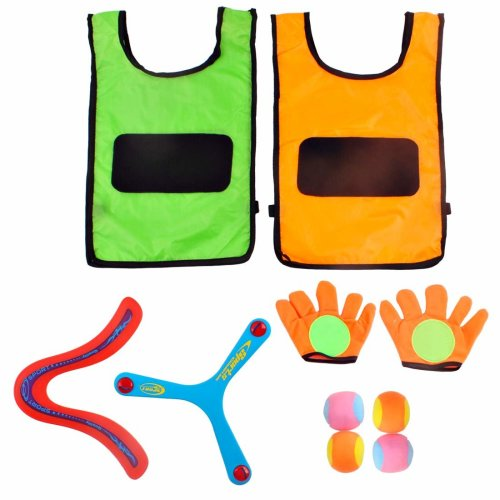 deAO 2 Pack Self-Stick Gloves, Target Vest and Toss Balls with Two Boomerang Flying Rings – Indoor and Outdoor Game for Kids & Adults