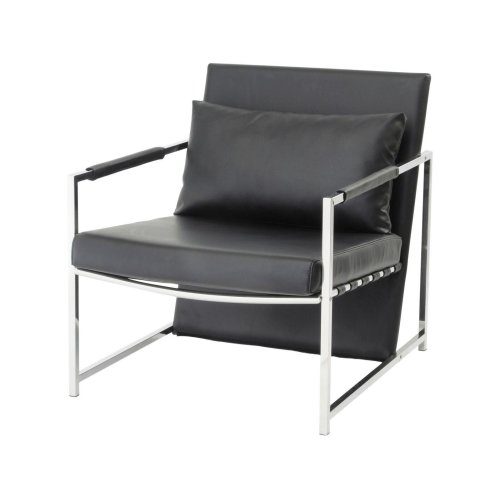Libra Clarendon Black Upholstered Occasional Chair With Cushion Steel Frame