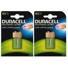 2 x Duracell 9V PP3 Block 170 mAh Rechargeable Batteries HR22 6LR61 HR9V DC1604